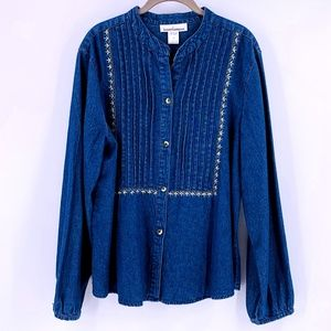68b05a56faed SERENGETI CATALOG Embroidered Denim Tunic Top XL